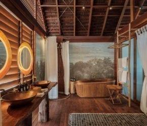 Overwater Bungalow bathroom, dream bathroom ideas, Bawah Reserve, Indonesia