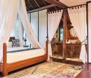 Jungle Lodge master bedroom, tucked in a private and peaceful lush jungle at Bawah Reserve, Indonesia