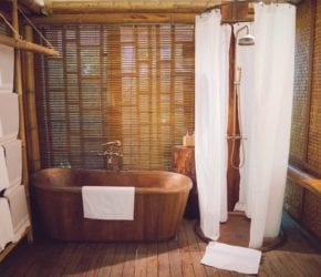 Beautiful copper and bamboo bathrooms, Garden and beach suite, Bawah Reserve, Indonesia