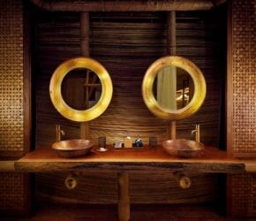 Luxury bathroom in the garden suite at private island sustainable resort, Bawah Reserve, Indonesia